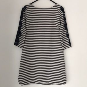 Eliza J Striped Shift Dress with Lace Overlay